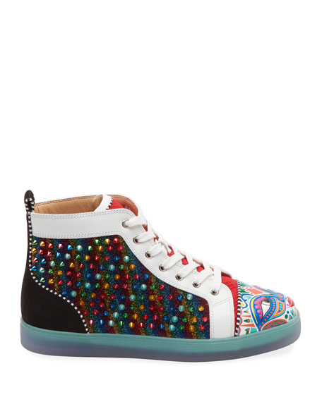 Christian Louboutin Men's Tribalouis Multicolor Spiked High-Top Sneakers
