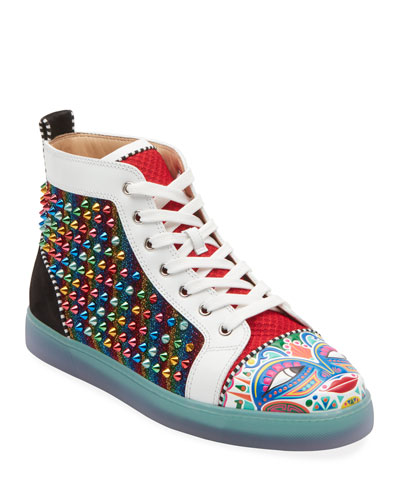 Men's Tribalouis Multicolor Spiked High-Top Sneakers