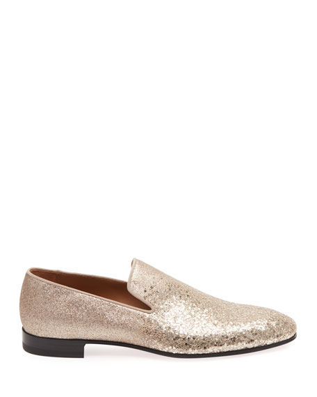 Image 2 of 5: Christian Louboutin Men's Dandelion Glitter Formal Slippers