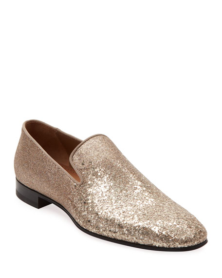 Image 1 of 5: Christian Louboutin Men's Dandelion Glitter Formal Slippers