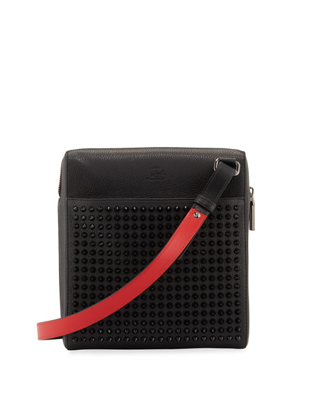 Christian Louboutin Men's Benech Studded Crossbody Briefcase
