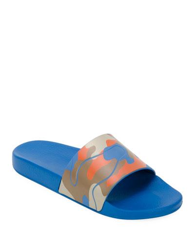 Men's Camo Slide Sandal  Orange Pattern
