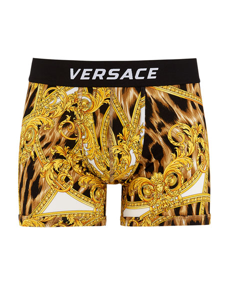 Versace Men's Graphic Long Boxer Briefs