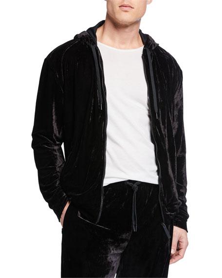 Versace Men's Velvet Zip-Front Track Jacket