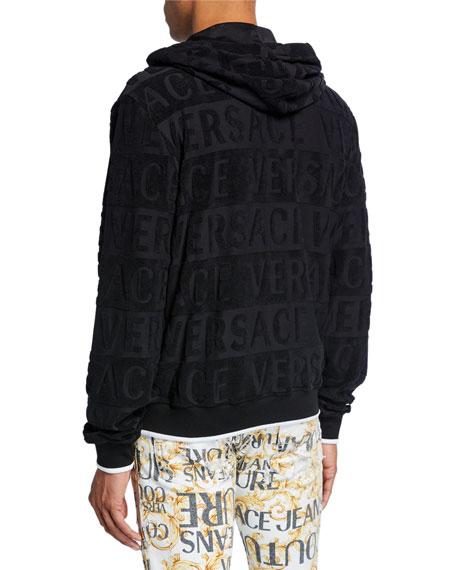 Versace Men's Embossed Logo Zip-Front Hoodie
