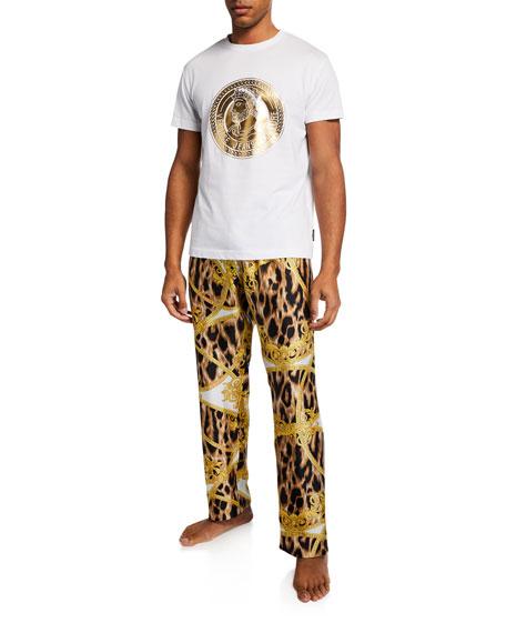 Versace Men's Baroque Print Silk Pajama Pants
