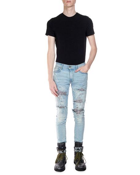 Amiri Men's Straight-Fit Sequin Zebra Denim Jeans