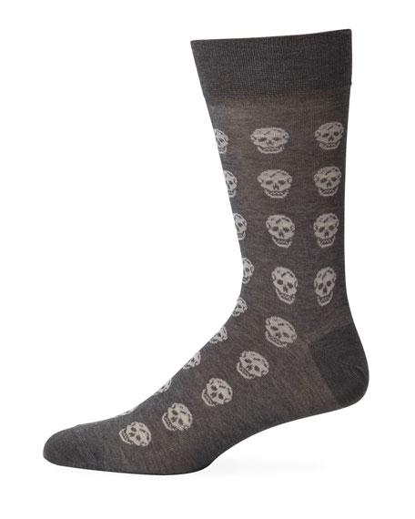 Alexander McQueen Men's Skull-Pattern Cotton Socks