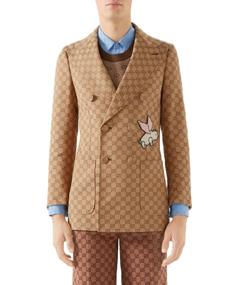 Gucci Men's Interlocking-G Double-Breasted Jacket