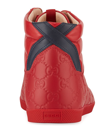 Gucci Men's High-Top Leather Sneakers