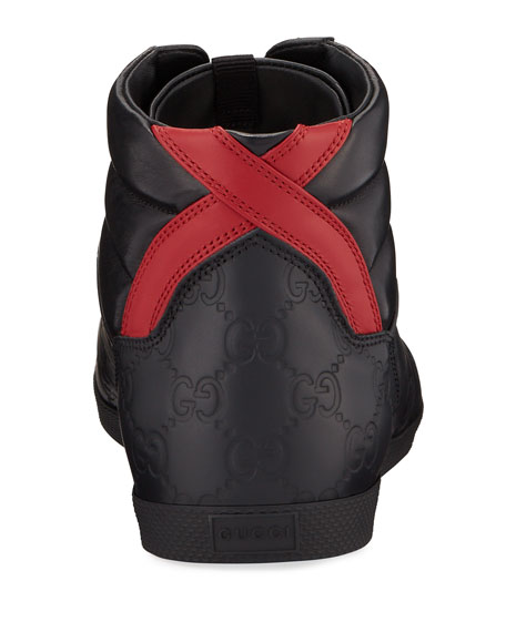 Gucci Men's Bambi GG-Embossed Leather High-Top Sneakers