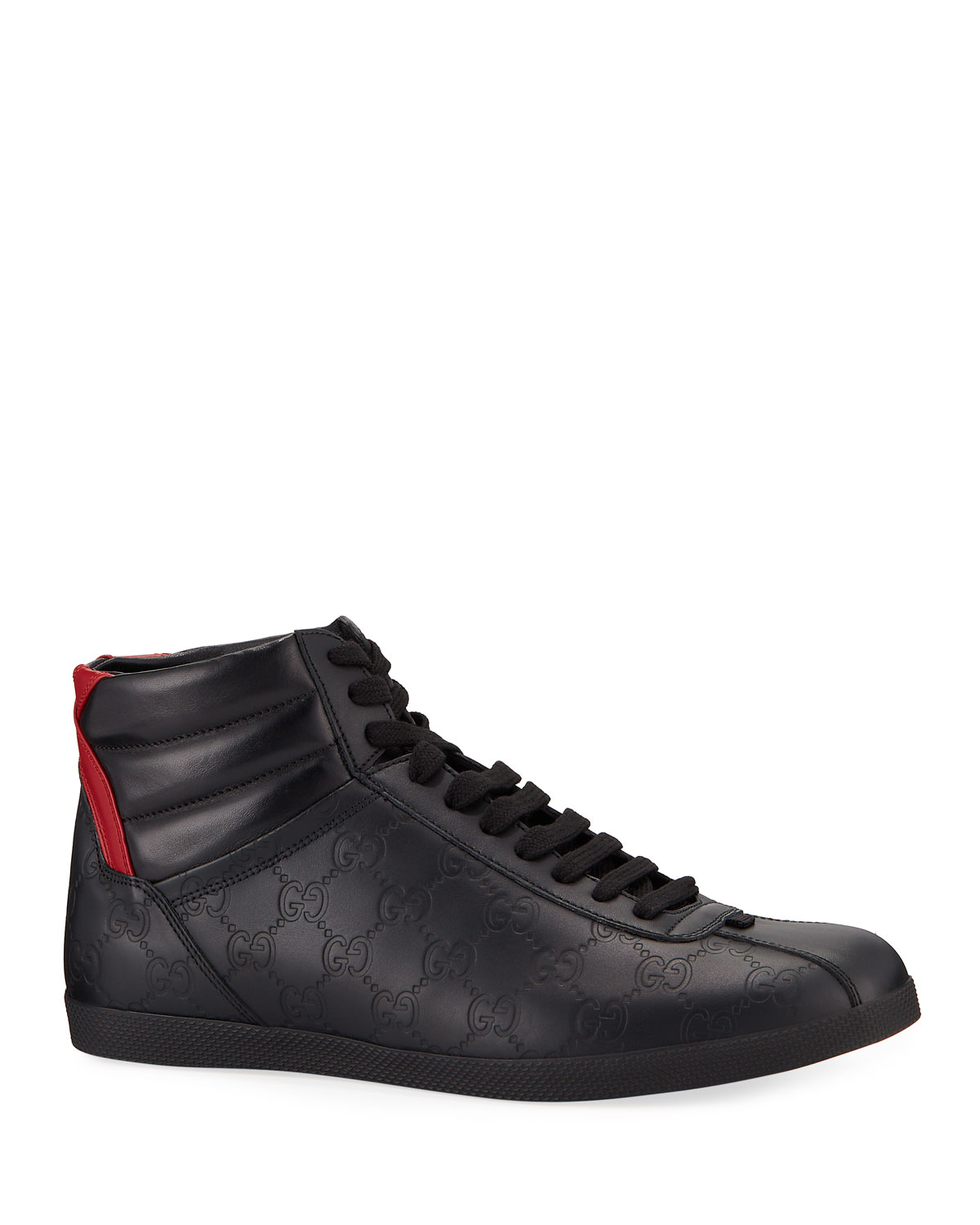 6848b1a09de Gucci Men s Bambi GG-Embossed Leather High-Top Sneakers