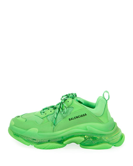 Balenciaga Men's Triple S Mesh & Leather Clear-Sole Sneakers