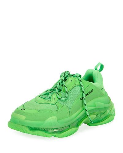 Men's Triple S Mesh & Leather Clear-Sole Sneakers