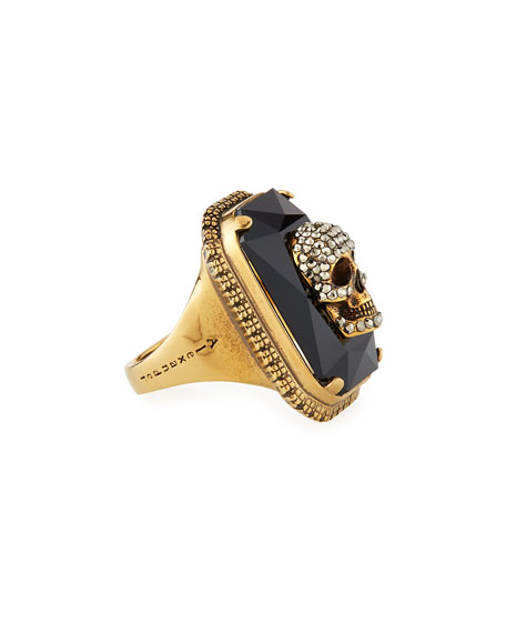 Image 2 of 2: Alexander McQueen Men's Studded Skull Jeweled Ring