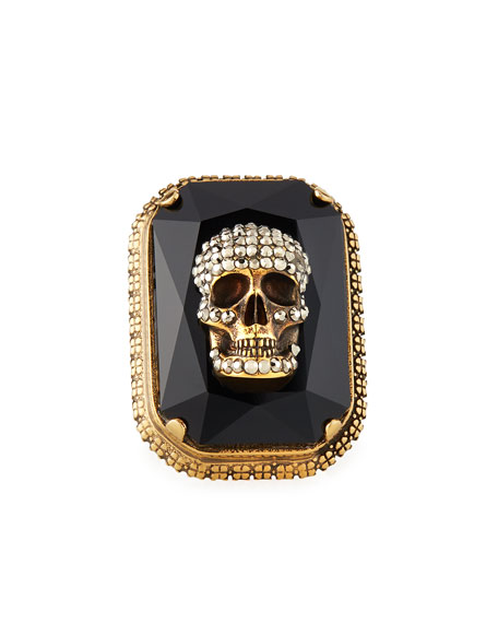 Image 1 of 2: Alexander McQueen Men's Studded Skull Jeweled Ring