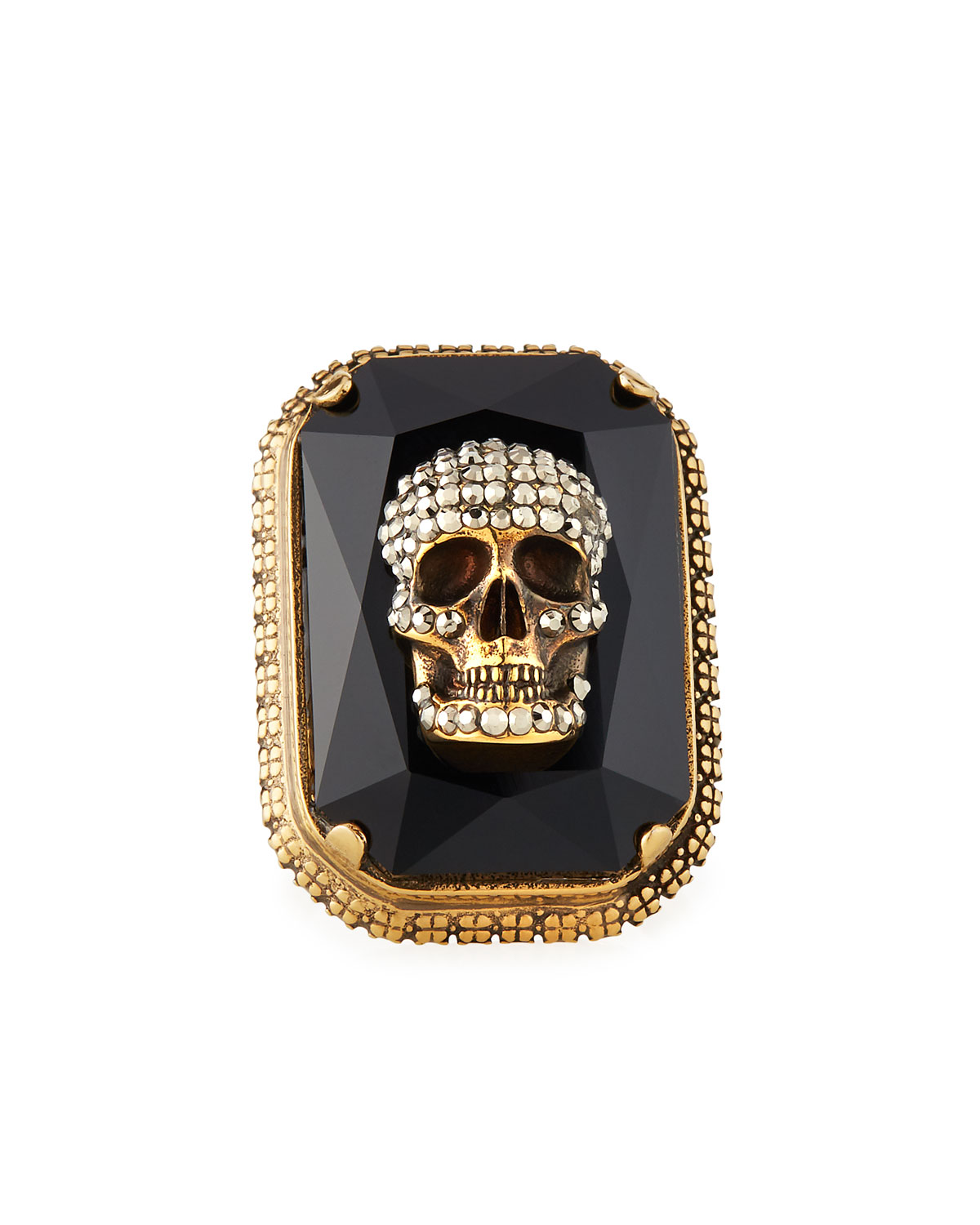 Alexander McQueen Men's Studded Skull Jeweled Ring