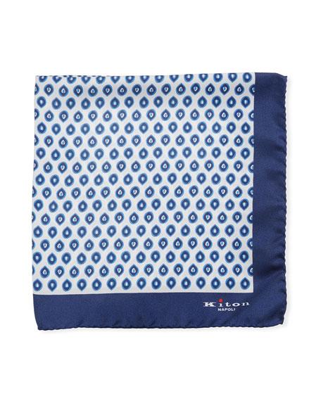 Kiton Small Ovals Silk Tie, White/Navy