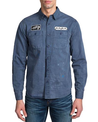 Men's Long-Sleeve Worker Woven Sport Shirt