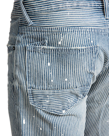 PRPS Men's Hickory Stripe Paint Detail Denim Shorts
