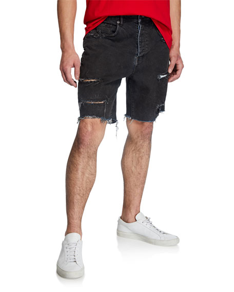 PURPLE Men's Relaxed-Fit Destroyed Denim Cutoff Shorts