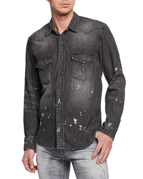 PURPLE Men's Distressed Denim Sport Shirt