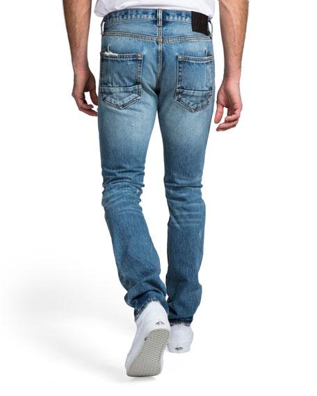 PRPS Men's Slim-Fit Medium Wash Abrasion Denim Jeans