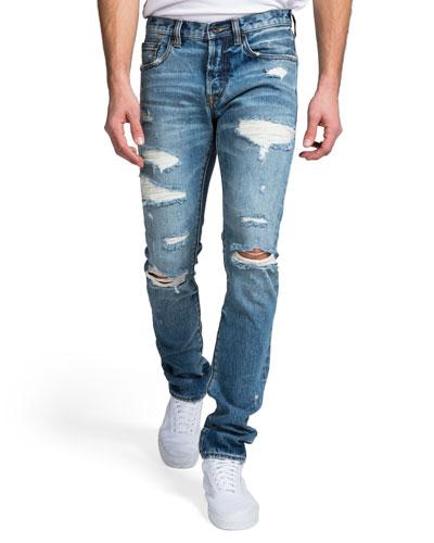 Men's Slim-Fit Medium Wash Abrasion Denim Jeans
