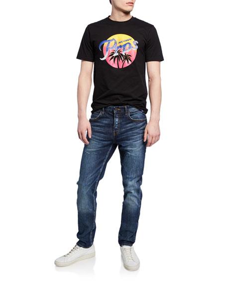 PRPS Men's Le Sabre Dark-Wash Stretch Denim Jeans with Abrasions