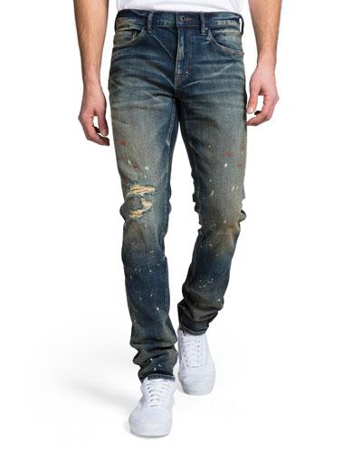 Men's Skinny-Fit Dark Wash Rip and Paint Denim Jeans