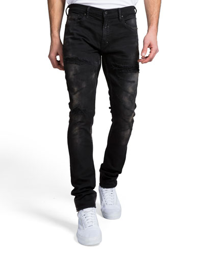 Men's Skinny-Fit Sanding and Abrasion Denim Jeans