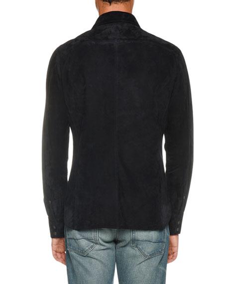 TOM FORD Men's Lightweight Suede Long-Sleeve Shirt