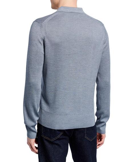 TOM FORD Men's Rib-Knit Long-Sleeve Polo Shirt