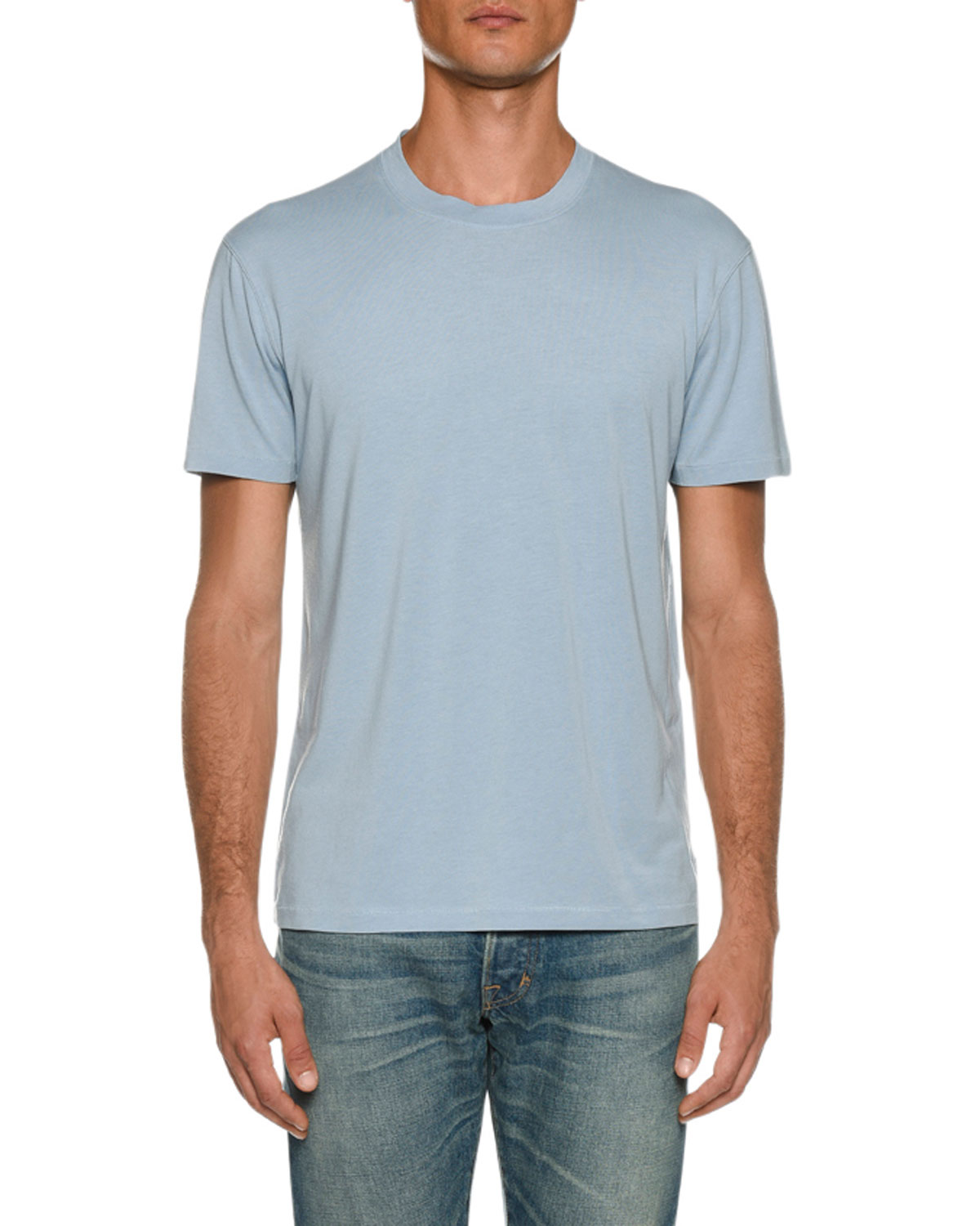 TOM FORD Men's Short-Sleeve Solid T-Shirt, Blue