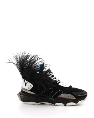 997d7f75b2a173 Valentino Men s Runway High Bounce Feather Sneakers