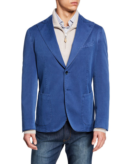 Neiman Marcus Men's Solaro Stretch-Denim Two-Button Jacket