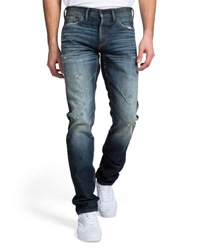Men's Dark Wash Whisker and Abrasion Denim Jeans