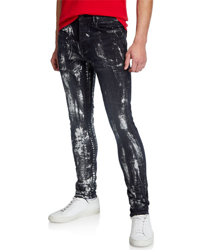 Men's Slim-Fit Brush Stroke Jeans
