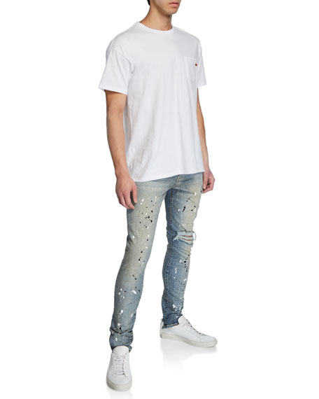 PURPLE Men's Dropped-Fit Distressed Jeans