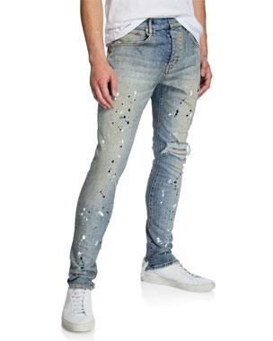 2816cb13 PURPLE Men's Dropped-Fit Distressed Jeans
