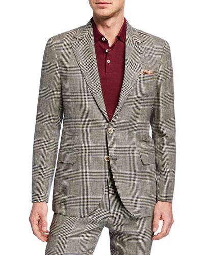 Men's Retro Plaid Two-Piece Linen/Wool Suit