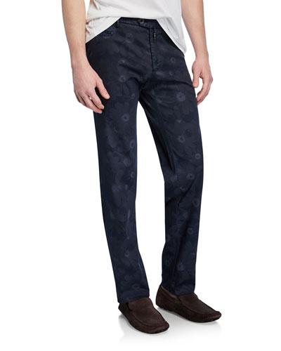 Men's Tonal Floral-Print Straight-Leg Pants