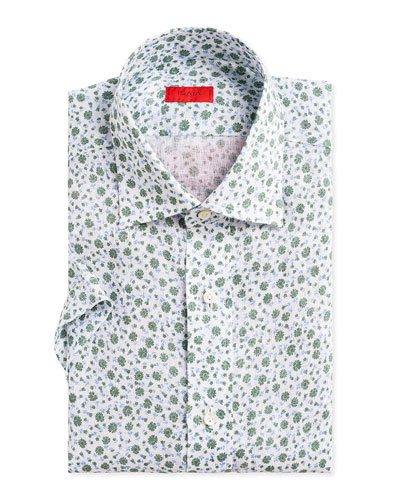 Men's Two-Tone Floral-Print Short-Sleeve Sport Shirt
