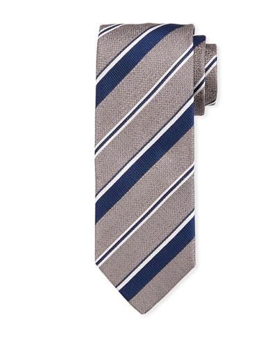Thin Stripe Silk Tie  Gray