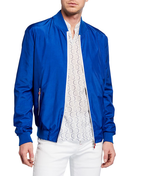 Kiton Men's Sateen Bomber Jacket, Royal Blue
