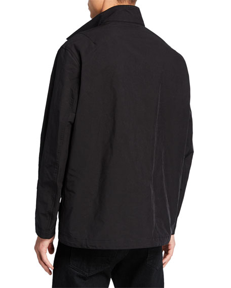 Neil Barrett Men's Zip-Front Bomber Jacket with Leather Pockets