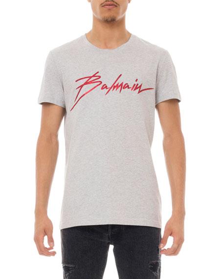 Balmain Men's Glitter Logo Graphic T-Shirt