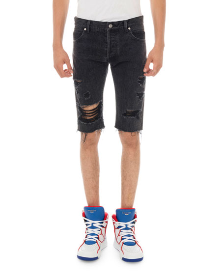 Balmain Men's Ripped Distressed Denim Shorts