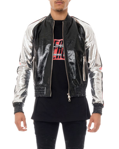 Men's Metallic Leather Bomber Jacket
