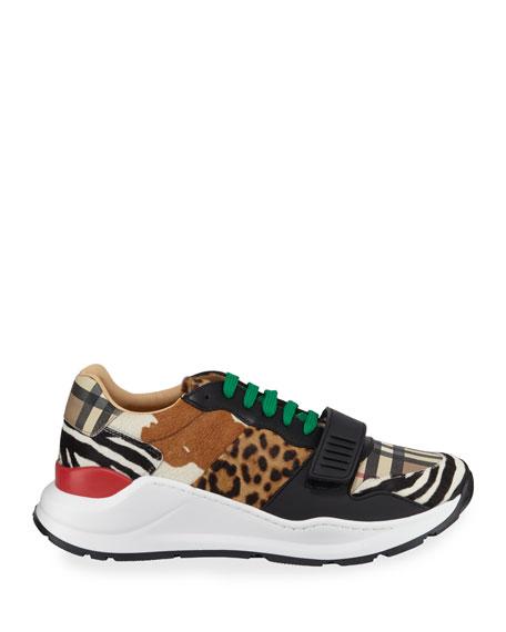 Burberry Men's Ramsey Signature Check & Mixed Animal-Print Sneakers
